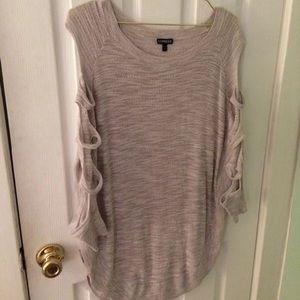 Express sleeve cutout tunic sweater